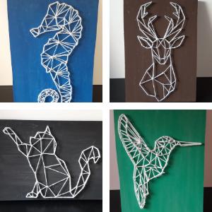 De 4 soorten string art DIY pakketten. Er is keuze uit een zeepaardje, een hert, een poes en een kolibrie.
