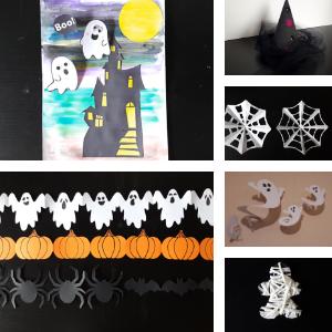 zes knutselwerken voor kinderen in één pakket om lekker te knutselen voor Halloween.