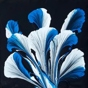 Acryl gieten en in het bijzonder de string pulling techniek waarmee je prachtige schilderijen maakt, zoals deze bloem