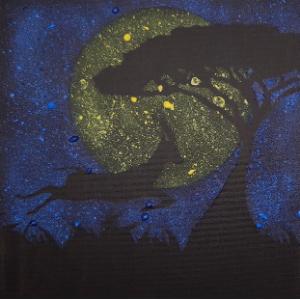DIY pakket painting art: Dieren in de nacht. Met een tandenborstel een schilderij maken.