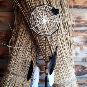 Een te gekke spinnenweb dromenvanger boven jouw bed. Compleet met kralen, veren en een spin.