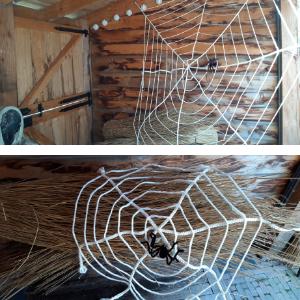 Mooie spinnenwebben om voor je deur of raam te hangen met Halloween. Ze zijn 30cm en 15cm in doorsnee.