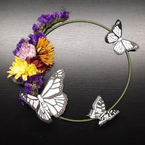 DIY pakket vlinderring. Met gedroogde bloemen en vlinders, een vrolijk geheel.