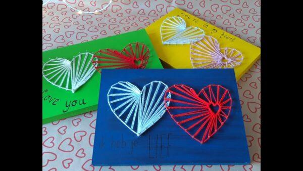 String art Hart in verschillende kleuren